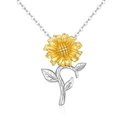 JUSTIKIDSTOY Sterling Silver Sunflower Necklace - You are My Sunshine Love Heart Pendant 14K Gold Jewelry Gift for Women Lover Friends (Gold, Only Sunflower) ()