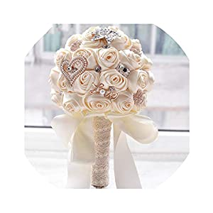 8 Colors Wedding Flowers Bridal Bouquets Artificial Wedding Bouquet Crystal Sparkle with Pearls 33