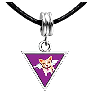 Chicforest Silver Plated Chihuahua Dog From Heaven Photo Triangle Charm Beads Bracelets European Bracelets Compatible