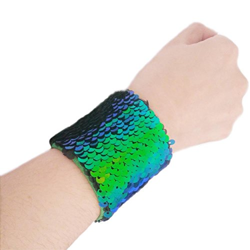 ZTMY Mermaid Bracelet Glitter Bangle Two-Color Reversible Charm Sequins Wristband Magic Bracelets for Party (Green Black)