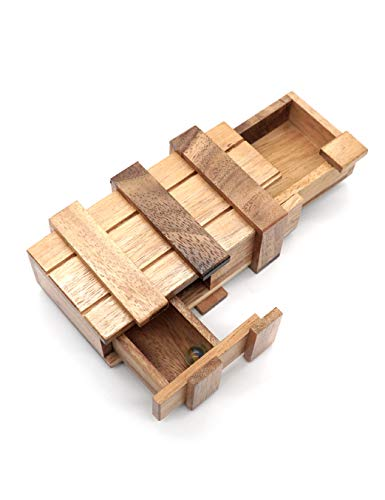 Open Japanese Puzzle Box - Gift Box Secret Intelligence Wood for Adults Magic Money Holder Puzzle Box for Adults and Keepsake Card Puzzle Boxes in Double Wooden Compartment Boxes Designs to Challenges Mind Puzzles