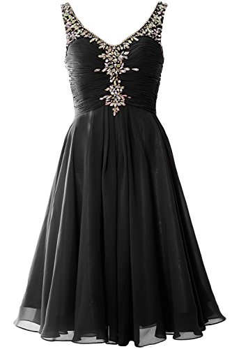 Women Evening Party Gown Neck Schwarz Homcoming Cocktail V Crystal MACloth Short Dress TdqzT8