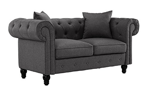 Divano Roma Furniture Classic Linen Fabric Scroll Arm Tufted Button Chesterfield Style Loveseat  ...