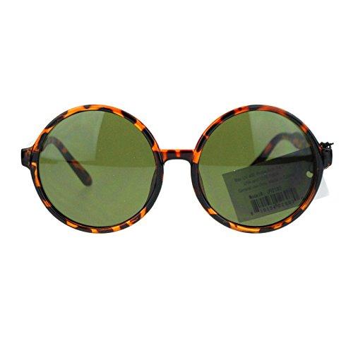 Unisex Round Circle Lens Plastic Frame Vintage Retro Sunglasses Tortoise Black -