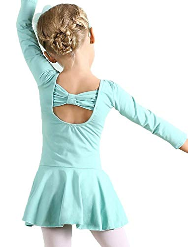 (AMOUR TIME Kids Girls Classic Long Sleeve Dance Ballet Dress Bowknot Design Leotard (C-Light Green, Age for 6-7Y))
