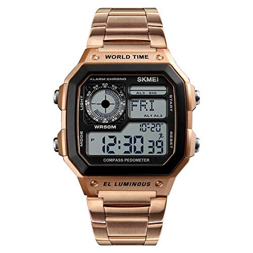 DYR Waterproof Stainless Steel Intelligent Watches/Compass/Date/Sports Mileage/Calorie Consumption/Shockproof Adjustable Watch,Rosegold