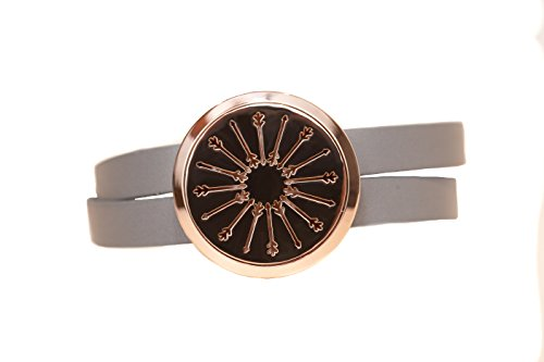 The Oil Collection Rose Gold Essential Oils Diffuser Wrap Bracelet (Stainless Steel) (Gray Leather - Arrows)