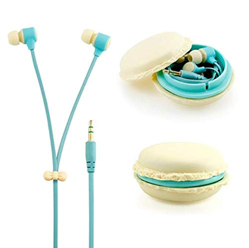 Amberetech Cute 3.5mm in Ear Earphones Earbuds Headset with Macaron Earphone Organizer Box Case for iPhone,for Samsung,for Mp3 iPod Pc Music (Beige)