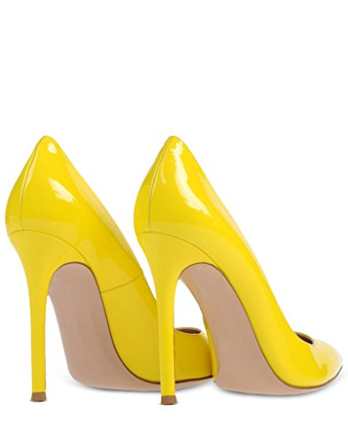 Prom Chocolate 100mm Yellow Office Handmade Womens Elegant Party Pumps Heel High Basic Fashion Shoes EDEFS qp8fHw