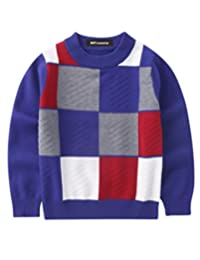 MFrannie Boys Contrasted Color Plaid Crew Neck Long Sleeve Sweater