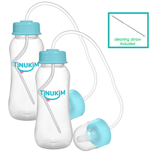 Tinukim Hands Free Baby Bottle – Anti-Colic Nursing System, 9 Ounce (Set of 2 - Blue)