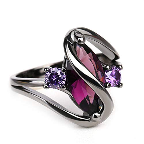 QuaQui Luxury Vintage Purple Zircon CZ Crystal Colorful Rings for Women Wedding Engagement Jewelry Stainless Steel Rings 8 (Invisible Set Bridal Diamond)