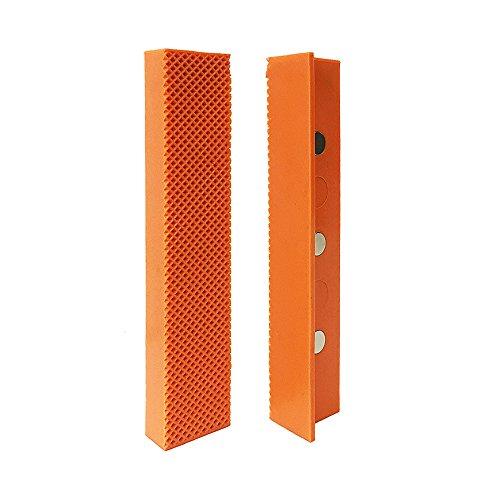 HORUSDY 6 Universal Bench Vise Soft Jaw Cover, Magnetic Retention, Orange Urethane, Waffle Face