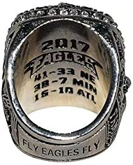 Carson Wentz 2018 Super Bowl LII World Champions Philadelphia Eagles Fly Eagles Fly Rare /& Collectible Replica Silver Football Championship Ring with Cherrywood Display Box