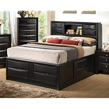 this item contemporary storage bed with bookshelf cal king 9675 in l x 76 in w x 545 in h - California King Bed Frame With Storage