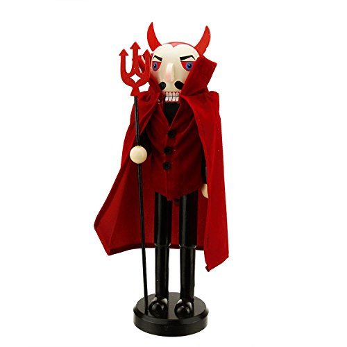 Northlight Red Devil Decorative Wooden Halloween Nutcracker Holding A Pitch Fork, 14