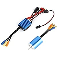 Mutiple Protection High Effiency Blue 2430 4800KV Sensorless Brushless Motor with 25A ESC for 1/16 1/18 RC Car Truck