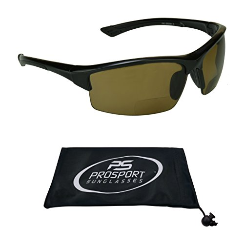Polarized Bifocal Reading Sunglasses for Men and Women. TAC Polarized Lenses Smoke or Brown and TR90 Frame. Free Microfiber Cleaning Case Included. (Black with Brown Lens, 2.5)