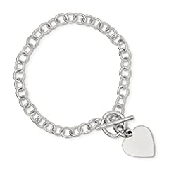 6mm Sterling Silver Polished Heart Charm Bracelet - 8.5 Inch - 12.0 Grams in Sterling Silver - JewelryWeb Style: QTB322748SS - FREE gift-ready jewelry boxCharm/Element Width: 15 mmWidth of Item: 6 mmCharm/Element Length: 16 mmLength of Item: ...