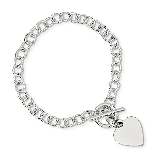 Sterling Silver Flat back Engravable Toggle Closure Polished Heart Charm Bracelet - 7.5 -