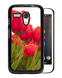 Unique DIY Designed Cover Case For Motorola Moto G With Red Tulips Flower Mobile Wallpaper Phone Case