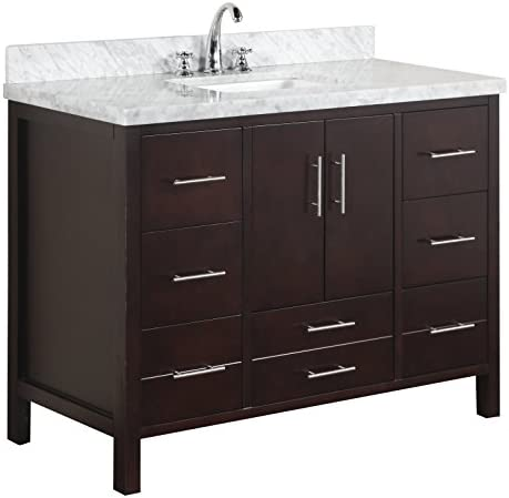 California 48-inch Bathroom Vanity Carrara Chocolate Includes Contemporary Cabinet with Soft Close Drawers Doors, Authentic Italian Carrara Top, and Rectangular Ceramic Sink