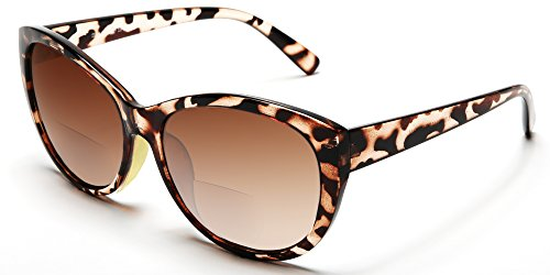Women's Bi-Focal Sun-Readers Fashion Wayfarer Reading Sunglasses Brown Tortoise Rx - Glasses Sun Cheap Designer