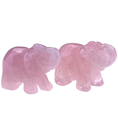 JOVIVI 2pc Natural Carved Gemstones Elephant Figurine 1.5'' Room Decoration, with Gift Box (Rose Quartz)