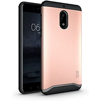 Nokia 6 Case, TUDIA Slim-Fit HEAVY DUTY [MERGE] EXTREME Protection / Rugged but Slim Dual Layer Case for Nokia 6 (Rose Gold)