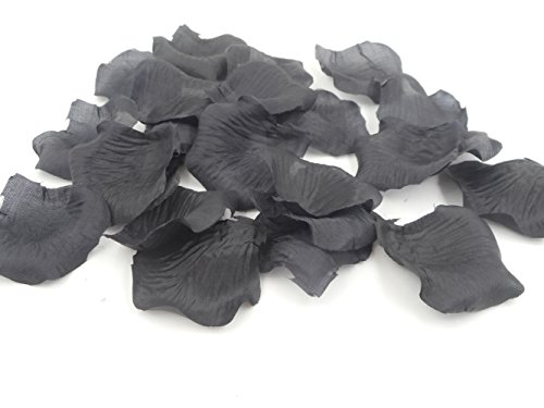 500PCS Artificial Polyester Fabric Silk Rose Petals for Weddings Black Flowers Party Prom Funeral Decorations Table Aisle Runner Supplies