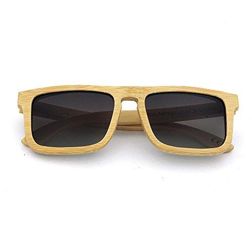 Sol Adecuado Libre al para Madera de Adulto Unisex Gafas Color de para múltiples y UV400 Marco Cuadrado Fines a Mano Diario de protección Lente Aire Gububi De Uso Hecho Gris Cuadrado Color Marrón xnBpXq