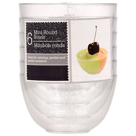 Clear Mini Disposable or Reusable Plastic Bowls for Dips, Desserts, Appetizers, Ice Cream, Truffle, or Candy (6-ct. Packs) -