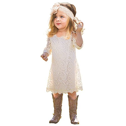 Topmaker Lace Flower Girl Dress (10-11 Years, Ivory) -