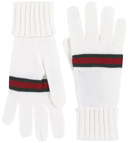 - Gucci Men's White 100% Wool Knit Web Stripe Gloves, White, L