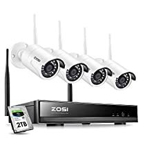 ZOSI 1080P Wireless Security Camera System H.265+ 8Channel 1080P CCTV NVR and 4PCS 2.0MP 1080P Weatherproof Bullet IP WiFi Cameras 65ft Night Vision, 2TB Hard Drive, Customizable Motion Detection