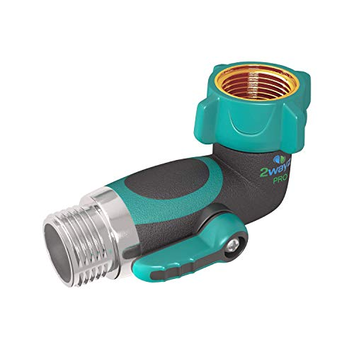 - 2wayz 90 Degree Garden Hose Gooseneck Elbow With Shut Off Valve. Free up space! Upgraded 2019 Full Metal Bolted and Threaded Spigot Extender. Perfect for RVs. Ergonomic, Lead Free, Family Safe Adapter