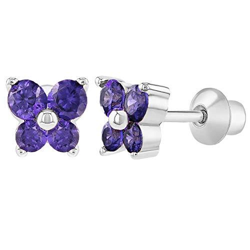 Rhodium Plated Purple Crystal Butterfly Screw Back Baby Earrings