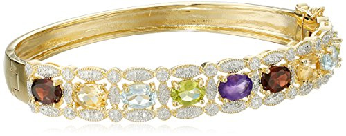 Yellow Gold-Plated Sterling Silver Multi-Gemstone Bangle Bracelet