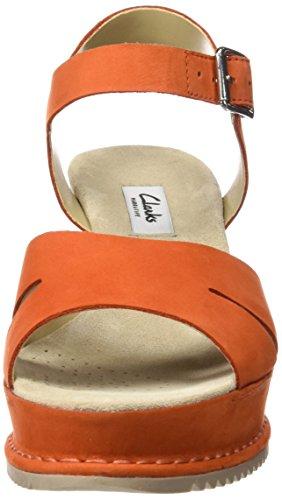 Clarks Akilah Eden, Sandalias con Cuña Para Mujer Naranja (Orange Nubuck)