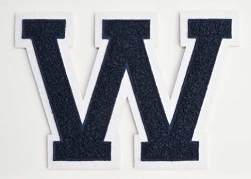 Varsity Letter Patches - Navy Blue Chenille Letterman W Patch - 4 1/2