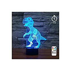 [Wall Adapter Included] Remote and Touch Control LED Dinosaur Night Light, With 7 colors, 3 Working Modes and Timer Function - Perfect for Bedroom, Baby and Kid's Room