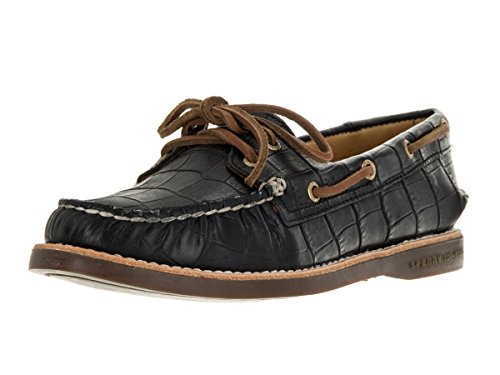 Sperry Top-Sider Womens Gold Authentic Original Boat Shoe Black Croc