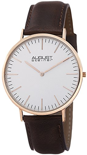 August Steiner Men's AS8084XRG Quartz Classic Silver Dial Slim Case Watch with Brown over Nubuck Leather Strap