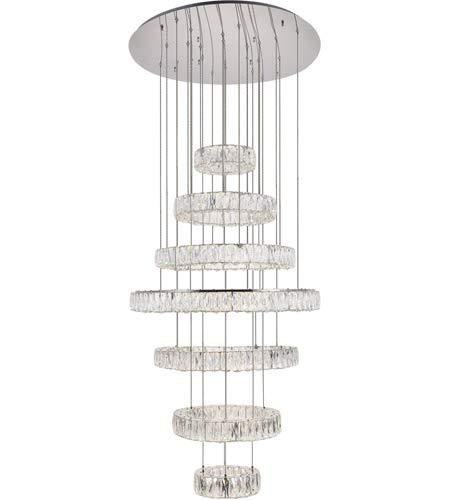Elegant Lighting Monroe Integrated LED chip Light Chrome Chandelier Clear Royal Cut Crystal