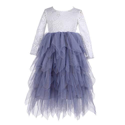 Flower Girls Tutu Lace Cake Dress Princess Birthday Party Dresses (Gray, -
