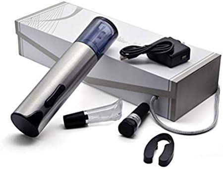 DFBGL Abridor de Vino eléctrico de Acero Inoxidable, Juego de sacacorchos eléctrico Profesional Recargable con Cortador de Papel de Aluminio, Cable de Cargador USB