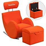 Flash LD-2025-OR-EMB-GG Emb Orange Fab Rocker-Storage Ottoman Size: 14''W x 10''D x 12''H