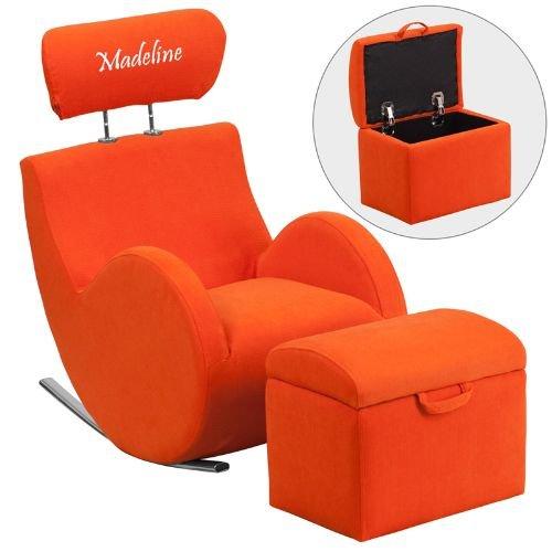 Flash LD-2025-OR-EMB-GG Emb Orange Fab Rocker-Storage Ottoman Size: 14''W x 10''D x 12''H