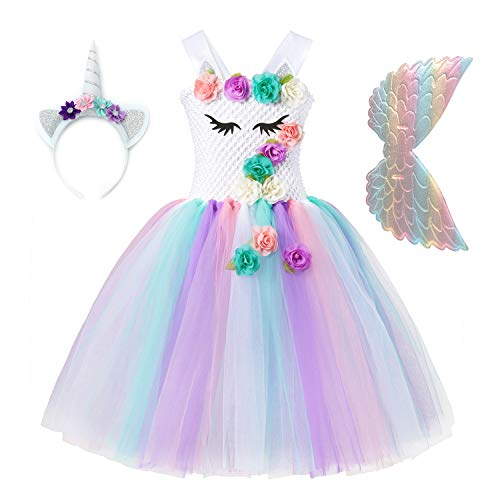 Unicorn Tutu Dress for Girls 3D Flower Princess Party Costume with Headband and Wings Rainbow -