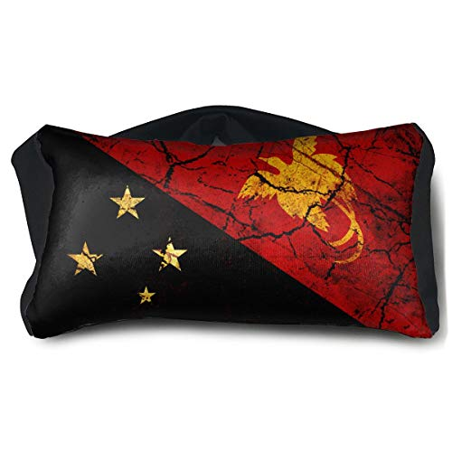 SUNNMOON Vintage Papua New Guinea Flag Neck Travel Pillow Support Scarf Voyage for Airplane Eye Mask, Travel Pillow and Eye Mask Washable Pillows